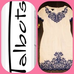 Talbots linen scalloped dress embroidered